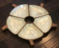 Vintage Monkey Pod Wooden Divided Serving Bowls w/ Capiz Shell Lining Inlays - 5