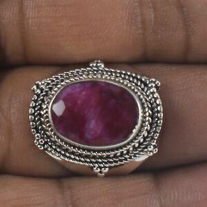 925 Sterling Silver Ruby Gemstone Sz 2-14 Oval Wedding Ring Women Gift RS-1429
