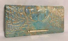 Brahmin Melbourne ADY Slim Bifold Lthr Wallet Clutch SERENDIPITY Turquoise NWT