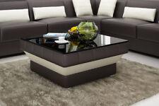 Design Glastisch Leder Couch Tisch Tische Glas Sofa Wohnzimmertische  CT9008br