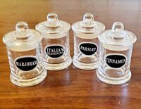 Set of 4 Glass Spice Apothecary Jars with Glass Lids Pre-Labeled