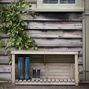 Contemporary Wooden Boot Indoor Outdoor Garden Store Open Storage Holder Rack
