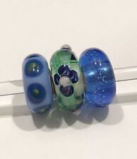 authentic trollbeads ooak Set of 3 Glass Beads at least one OOAK in Set