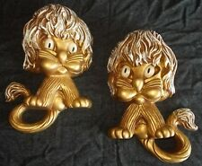 2 Vintage Homco Universal Statuary Corp Wide Eyed Loin 1970 Wall Hanging Plaque