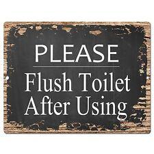 PP0414 Flush Toilet After Using Sign Store Shop Cafe  Restaurant Restroom Decor