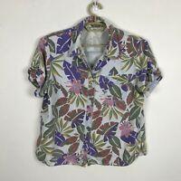 Vintage 1990s Sag Harbor Sport Denim Hawaiian Shirt Size L Multicolor Floral