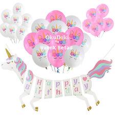 Unicorn Happy Birthday Banner and Balloon Theme Supplies Set USA SELLER SHIPFAST