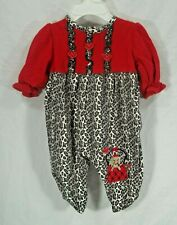 girls size 0-3 months Okie Dokie red gray black animal print outfit long sleeve