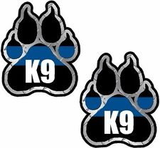 "2 - 3""x2.5"" Police K9 Paw Decal SET K-9 Officer Dog Unit Thin Blue Line Sticker"