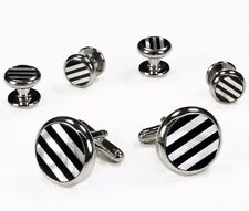 New Mother Of Pearl Onxy Srtiped Round Cufflinks & Studs Set Formal Tuxedo Black