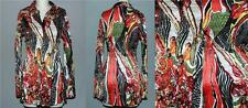 Alberto Makali Bright Swirl Krinkle Pleated Long Flare Blouse Bell Cuffs Wms S