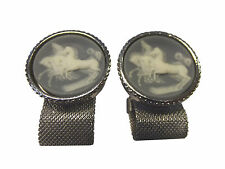 "Vintage Galloping Horses Wedgwood Style Wrap Around Cufflinks 1"" 6M 6S"
