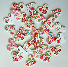 30 SHABBY CHIC PINK WOODEN BUTTONS EMBELLISHMENT CRAFT CARD MAKING SCRAP BOOKING
