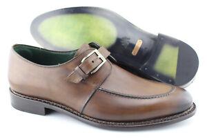 Men's MEZLAN 'Aguilar' Brown Leather Monk Strap Loafers Size US 11.5 - D