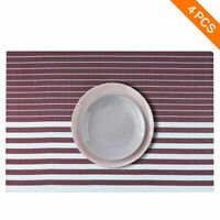 Placemats Set of 4 Easy to Clean Non Slip Heat Resistant Woven Vinyl Table Mats