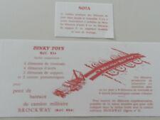 DINKY 884 CAMION MILITAIRE GMC BROCKWAY POSEUR DE PONT 2 NOTICES ROUGES