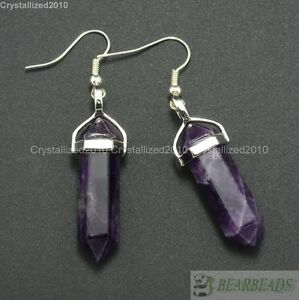 Natural Mixed Gemstone Hexagonal Pointed Reiki Chakra Healing Beads Earrings