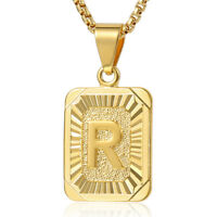 "18-24"" MENS WOMENS Yellow Gold Plated Initial Letter A-Z Pendant Chain Necklace"