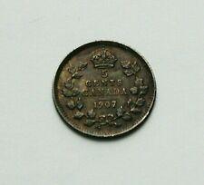 1907 CANADA Edward VII Tiny Silver Coin - 5 Cents - superior dark tone