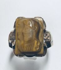 10 Kt Yellow Gold Men's Carved Tiger Eye Ring Size 9