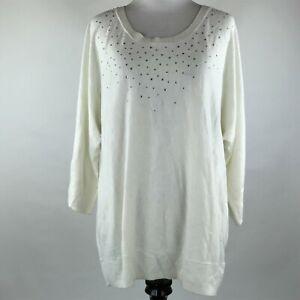 Amie et Moi Women Cream Knit Embellished Sweater sz XL