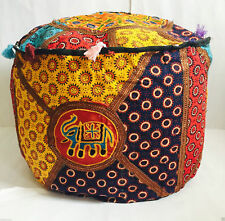 New Indian Handmade Pouffe Ottoman Cover Indian FootStool Floor Cushion Bean Bag
