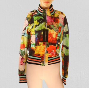 ROCCOBAROCCO Women's Floral Multicolored Bomber Jacket Size 4