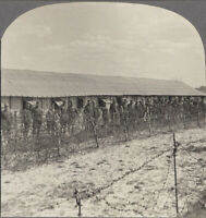 WW1 Stereoview. Accommodation for German Prisoners near Belleau Woods, France
