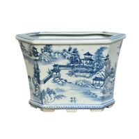 Beautiful Blue and White Blue Willow Landscape Porcelain Hexagonal Pot