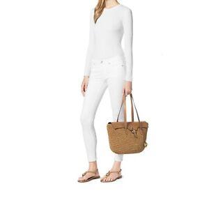 MICHAEL Kors Naomi Large Woven Straw Leather-Trim Tote Bag Walnut Shoulder New