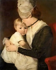 Dream-art Oil painting portrait of mrs anne carwardine and her eldest son thomas