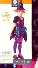 HALLOWEEN COSTUME SEQUIN WITCH WITH HAT SPARKLES GIRLS - Size L 10-12