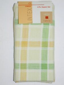 "(4) Lintex 100% Cotton Napkins ~ Lemon Lime Plaid ALV 8102 ~ 18"" x 18"" **NEW**"