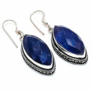 "Burmese Sapphire Gemstone Gift 925 Sterling Silver Jewelry Earring 1.97 "" O027"