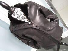 MANTEAUX MANTEAUX Soft Genuine Leather w/Faux Fur Lining Collar Jacket Coat Sz S