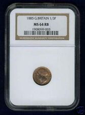 G.B./U.K. VICTORIA 1885 1/3 FARTHING CERTIFIED NGC MS64, CHOICE UNCIRCULATED