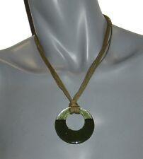 Bijoux de créateur pour femme COLLIER corde et verre vert & kaki L&my Mania neuf