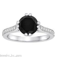 PLATINUM 1.88 CARAT ENANCED BLACK DIAMOND ENGAGEMENT RING UNIQUE HANDMADE
