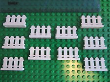 LEGO 10 x White Fence / Gate for House, Garden or Railway Track