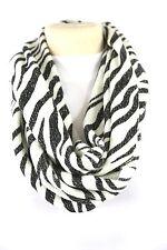 B112 Eternity Animal Stripe Metallic White Black Silver Infinity Scarf Boutique