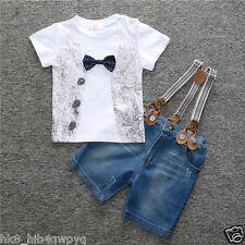 3Pcs/Set Kids Baby Boys T-Shirt + Denim Shorts +Straps Kids Summer Clothes suit