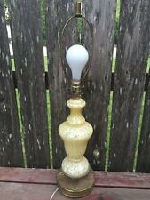 Vtg MURANO Glass Yellow Speckled Spotted Table Lamp w Dolphin Feet Metal base