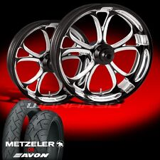 Luxe Contrast Cut Wheels & Tires for 1990-2006 Softail Fat Boy Lo