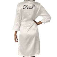 Satin Silk Bride Heart Robe Wedding Bridesmaid Bride Maid Of Honor Dressing Gown