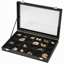 Boîte coffret de rangement présentoir à bijoux 24 grilles anneaux bracelets noir