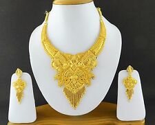 UK Indian Bollywood Jewelry Fashion Gold Plated Wedding Necklace Earring Set A13