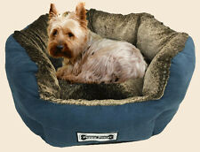 Padded Pet Lounge, Dog and Cat Bed, Pet Basket, Faux Suede, Plush Lining - Navy