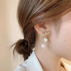 Women Bowknot Dangle Earrings Earrings Pearl Earrings Korean Elegant Jewelry~