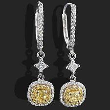 Dangle Drop Earrings 1.34ct Halo Yellow Cushion Cut Round Diamond 14k White Gold