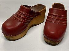 1970s Vintage Wood Clogs Burgundy Leather Olof Daughters Hippie Eur37 5.5/6Us